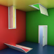 right choice concept, abstract doors 3d illustration