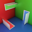 abstract doors 3d illustration, entrance, choice, concept