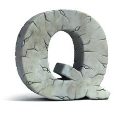 letter Q cracked stone 3d font
