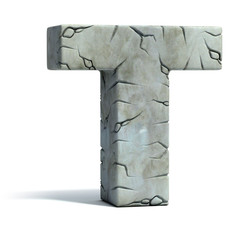 letter T cracked stone 3d font