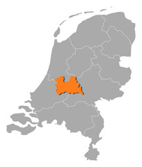 Map of Netherlands, Utrecht highlighted