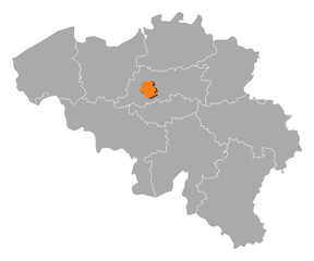 Map of Belgium, Brusseles highlighted