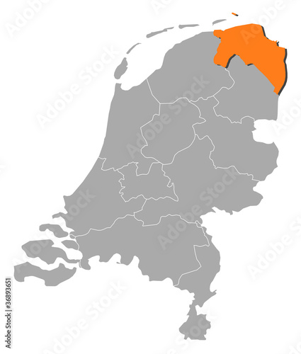 Map of Netherlands, Groningen highlighted