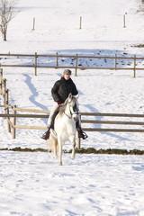 cavalière montant à cheval sur la neige-13
