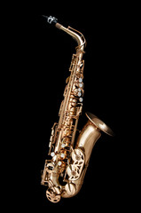 Saxophone Jazz instrument on black background