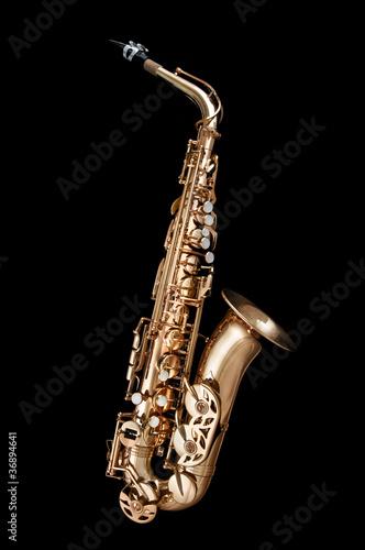 Saxophone Jazz instrument on black background - 36894641