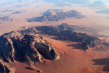 Wadi Rum Desert beautiful landscape from above. Jordan.
