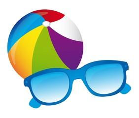 Beachball, sunglasses vector