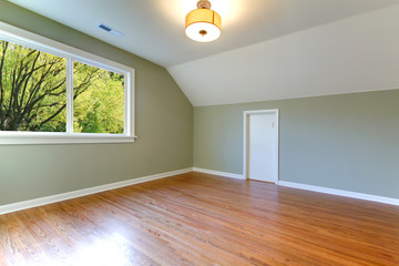Green fresh empty room with view of trees and oak floor.