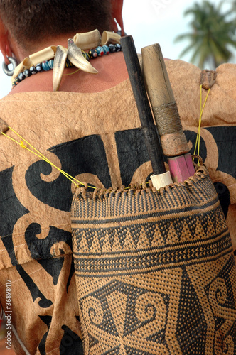 backpacks tribal Borneo Indonesia