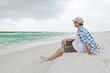 Man Relaxing at the Beach Seashore