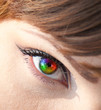 Colorful woman eye close-up