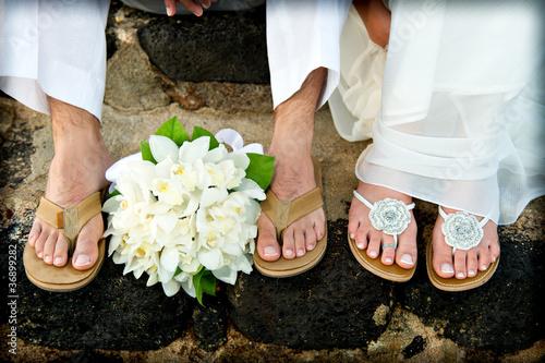 Just Married. Tropical Wedding feet.