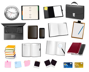 Notebooks and some office and business supplies.