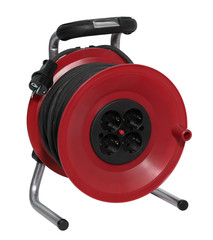 red plastic cable reel
