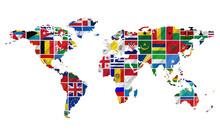 Flagi świata dając komunikat unii