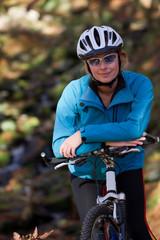 Mountain biking - portrait of  female biker