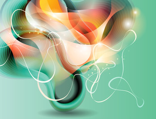 Abstract turquoise background with transforming forms. Vector