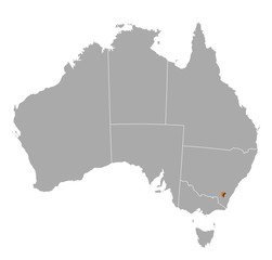 Map of Australia, Capital Territory highlighted