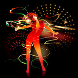 Dancing girl with shining splashes on a dark background. Vector