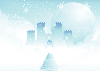frosty steps leading to castle in the clouds