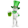 Man celebrating St. Patrick's day with a green beer and a hat