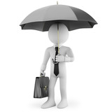 Businessman with an umbrella and a briefcase waiting