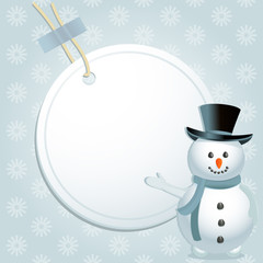 Christmas snowman and label