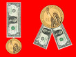 US dollars as medal, ribbon awards. Isolated