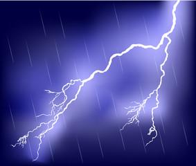 lightning in rain lilac sky