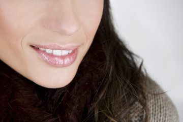 A young woman's mouth and nose, close-up