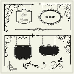 Set vintage signboard and decoration elements