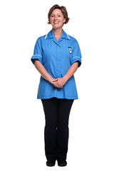 Female nurse isolated on white