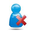 Icono 3D usuario con simbolo error