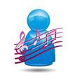 Icono 3D usuario con simbolo musica