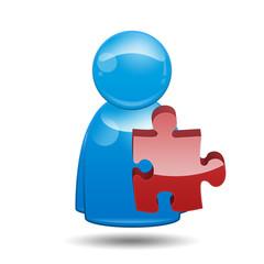 Icono 3D usuario con simbolo plugin