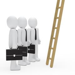 businessman watch up a ladder