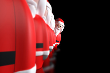 Santa Claus 3d aligned on a black background