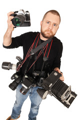 Photographer with many cameras