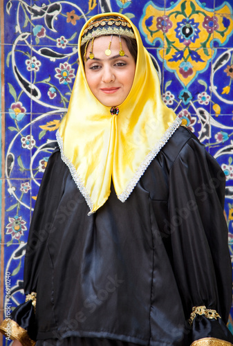Traditional dress young muslim woman with head scarf