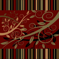 Floral ornament on a dark red background
