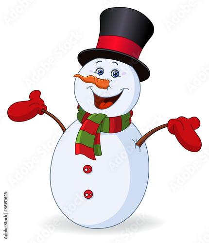 Cheerful snowman - 36911645