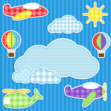 Fototapety Blue background with cute plane, helicopter, aeroplane, balloons