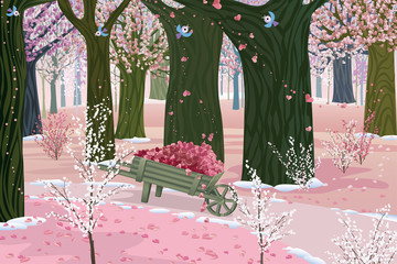Blooming forest on Valentine's Day