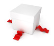 gift box with red ribbon isolated on white background