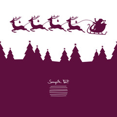 Christmas Sleigh Flying Over Forest Purple
