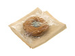 Plain doughnut with plastic wrapper