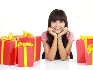 young woman surrounded by packages