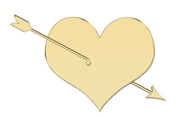 Corazón de oro y flecha