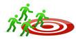 team running to target illustration design on white